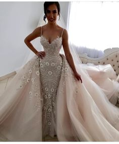 Cute Prom Dresses, Mermaid Spaghetti Straps Detachable Pearl Pink Wedding Dress, Shop plus size prom dresses and full figured formal gowns with an affordable price. Pink Wedding Gowns, Custom Wedding Dress, Perfect Wedding Dress, Best Wedding Dresses, Designer Wedding Dresses, Bridal Dresses, Gown Wedding, Couture Dresses, Wedding Dresses Detachable Skirt
