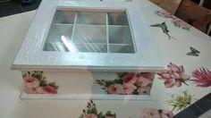 Lorena Amarillo: Caja de té romantica Decoupage Tutorial, Decoupage Box, Painted Boxes, Wooden Boxes, Tea Box, Diy And Crafts, Decorative Boxes, Painting, Vintage