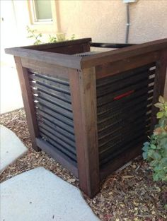 My Shed Plans - Air-conditioner unit cover by margarett - Now You Can Build ANY Shed In A Weekend Even If You've Zero Woodworking Experience! Backyard Projects, Outdoor Projects, Backyard Patio, Backyard Landscaping, Home Projects, Landscaping Ideas, Backyard Ideas, Patio Ideas, Do It Yourself Pool