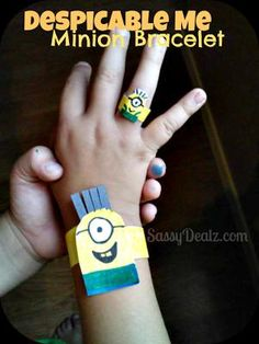 How To Make a Despicable Me Minion Kid's Bracelet (Cheap DIY Paper Craft) - Crafty Morning Craft Projects For Kids, Fun Crafts For Kids, Diy Arts And Crafts, Crafts To Do, Diy For Kids, Craft Ideas, Art Projects, Diy Ideas, Minion Theme