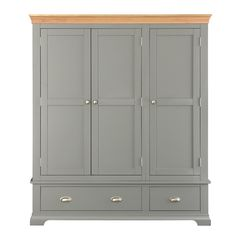 Regatta Grey Triple Wardrobe - The Cotswold Company Grey Painted Furniture, Fitted Bedroom Furniture, Fitted Bedrooms, Wardrobe Furniture, Wood Furniture, Pine Wardrobe, Triple Wardrobe, Wooden Wardrobe, Wardrobe Doors