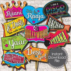 Bollywood Themed Photo Booth Props  - Set of 10 - Indian Style, Party Signs, Desi, Instant Download, Printable, Print your own, PDF File