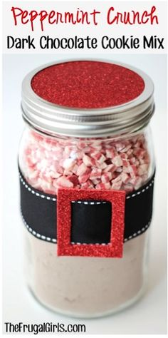 Peppermint Crunch Dark Chocolate Cookie Mix in a Jar
