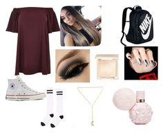 """""""high school"""" by queenlovebvb ❤ liked on Polyvore featuring River Island, Converse, Topshop, NIKE, Jouer and plus size dresses"""