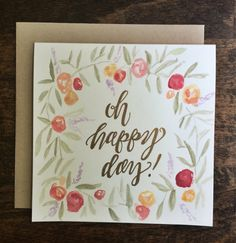 Square handmade watercolor floral with gold by PleasantAvenue