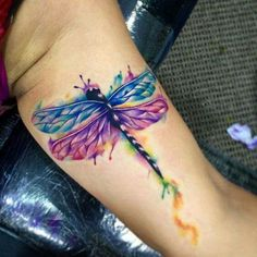 Watercolor Dragon Fly Tattoo