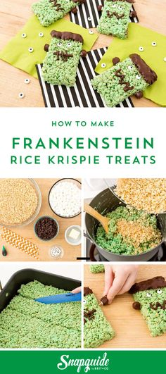Bookmark this recipe to make Frankenstein Rice Krispie Treats for a scary treat to make with your kids for Halloween.