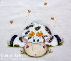 mi Tole Decorative Paintings, Tole Painting, Fabric Painting, Painting On Wood, Cow Pattern, Cow Art, Country Paintings, Country Crafts, Cartoon Pics