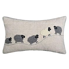 JWH Sheep Applique Accent Pillow Cases Cashmere Cushion Covers Handmade Pillowcases Home Sofa Car Bed Living Room Office Chair Decor Pillowslips 12 x 20 inch Linen Applique Cushions, Wool Applique Patterns, Applique Embroidery Designs, Sewing Pillows, Handmade Cushions, Decorative Cushions, Cushion Inspiration, Sheep Crafts, Animal Cushions