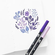 The Tombow Dual Brush Pen (which you can find in the Galaxy is a perfect match to Pantone's Color of the Year? If you're interested in colored pencils, Tombow's Irojiten Iris Violet (which is in the Vivid Irojiten Colored Pencil Set) is the perfect shade. Bullet Journal Art, Bullet Journal Ideas Pages, Bullet Journal Inspiration, Brush Pen Art, Tombow Dual Brush Pen, Gel Pen Art, Doodle Drawings, Doodle Art, Floral Doodle