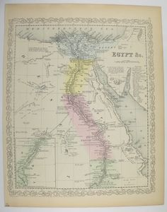 1858 Mitchell Map of Egypt Africa, Nubia Original Antique Map, Egyptian Wall Art, Nile River, 1800s Historical Map, Egyptian Desert available from OldMapsandPrints on Etsy