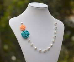 Teal and Peach Rose Asymmetrical Bridesmaids Necklace with White Swarovski Pearls. Bridal Party Gifts. Teal Wedding Jewelry. GIFT FOR HER