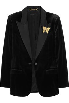 Gucci|Velvet and satin jacket|NET-A-PORTER.COM