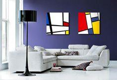 Cuadros pintados a mano estilo Mondrian