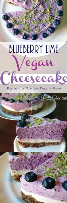 Cheesecake (Vegan, GF, Paleo) Blueberry Lime Cheesecake that is not only pretty, but GOOD for you!Blueberry Lime Cheesecake that is not only pretty, but GOOD for you! Lime Cheesecake, Cheesecake Recipes, Blueberry Cheesecake, Vegan Blueberry, Raw Vegan Cheesecake, Dairy Free Cheesecake, Raw Desserts, Paleo Dessert, Health Desserts