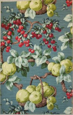 Fruit covered French wallpaper, ca. 1930