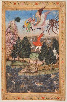 The Flight of the Simurgh. Sadruddin Aga Khan Collection - Simurgh - Wikipedia, the free encyclopedia Mughal Paintings, Islamic Paintings, Mythical Birds, Iranian Art, Medieval Art, Fantastic Art, Illuminated Manuscript, Religious Art, Ancient Art