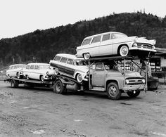 1955 Ford wagons on hauler by PAcarhauler, via Flickr - www.TravisBarlow.com Insurance for towing & auto transporters for over 39 yrs.