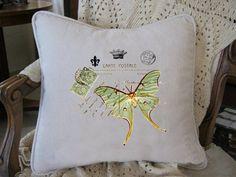 Green Luna Moth on French Script Vintage by nanaandmecreations, $30.00