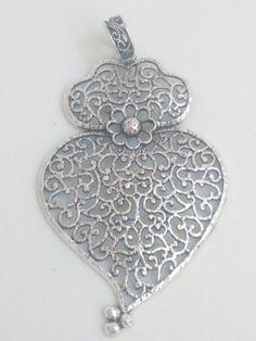 Filigree pendant silver portuguese 8cm charm heart by ROYALcraftPT