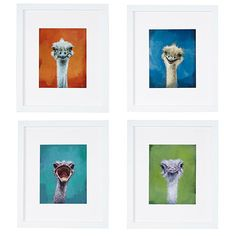 Each ostrich portrait is printed using acid-free paper and presented under an acid-free mat and Bonanza wood frame.