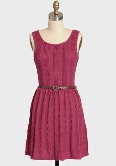 NEW Modcloth Magenta Knit Dress BNWT Free TAN Belt Indie Tunic Pink | eBay