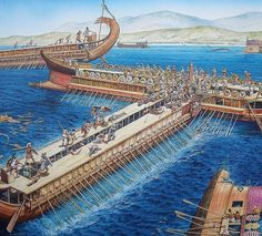 The great naval battle of Salamis was fought between the Greeks and Persians in 480 BCE in the narrow strait between Salamis and Attica. The Phoenicians made up an important part of the Persian navy. King Xerxes I of Persia had with him three loyal kings from the Phoenicians city-states: King Eshmunazar II of Sidon, son of high priestess of Astarte; King Mattan IV of Tyre, son of Hiram; and King Maharbaal of Arvad.