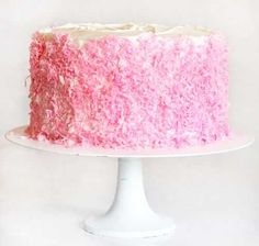 Mother's Day Cake by iamabaker: White cake with pink coconut and an amazing surprise inside! #Cake #Mothers_Day_Cake