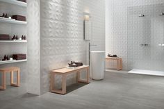 White-paste Wall Cladding DIAMOND White-body wall tiles Collection by Atlas Concorde Bathroom Wall Tile, 3d Wall Tiles, Ceramic Wall Decor, Dimensional Wall, Feature Tiles, Tile Design, Wall Cladding, Wall Tiles, Wall Design