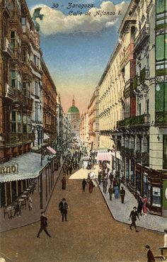 Postal coloreada de la calle Alfonso I de Zaragoza. Fechada en 1904, principios del siglo XX. 05