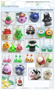 Fanart Charms Collage 1 by junosama on DeviantArt Polymer Clay Kunst, Polymer Clay Sculptures, Cute Polymer Clay, Cute Clay, Fimo Clay, Polymer Clay Charms, Polymer Clay Projects, Polymer Clay Creations, Sculpture Clay