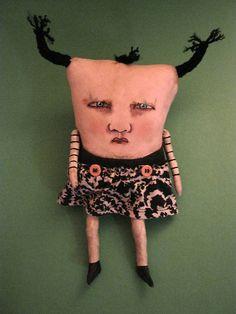 weird monster doll, sandy mastroni,odd doll,monster Elaine art doll,original doll, whimsical doll art
