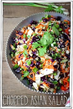 Chopped Asian Salad. An orange sesame dressing, lightly enhances the abundance of carrots, peppers, red and green cabbage, and edamame in all their vegetable glory.  Perfect for bringing to parties, or potlucks, as the flavours just get better as it sits.