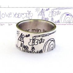 OFF Custom Childrens Drawing Ring, Kids Art Jewelry, Kids Art Ring, Actual Drawing,Your Children Animal Jewelry, Jewelry Art, Jewelry Rings, Silver Jewelry, Women Jewelry, Jewellery, Kids Rings, Rings For Men, Venus Jewelry