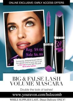 Order your Big & Daring Mascara NOW while supplies last in this early preview www.youravon.com/hslocomb