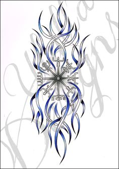 Tribal Viking Compass - Tattoo Request by Ulylla on DeviantArt Viking Compass Tattoo, Norse Legend, Simple Tattoo Designs, Biro, Colored Pencils, Vikings, Celtic, Stencils, Tattoo Ideas