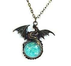 Glow in the Dark Bronze Dragon Necklace Charm with Glowing Blue Sparkle Orb Uv Flashlight Included *** Do hope that you actually do like the photo. (This is our affiliate link) Dragon Necklace, Dragon Jewelry, Blue Necklace, Crystal Necklace, Necklace Charm, Bronze Dragon, Blue Charm, Magical Jewelry, Bronze Jewelry