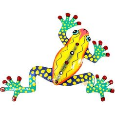 10-inch Painted Metal Art Yellow Frog Wall Decor