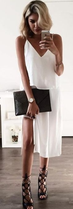 #summer #lovelyluciano #outfitideas |  Cami White Dress