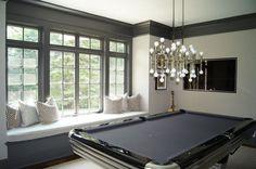 Brooks & Falotico - media rooms - Vanderbilt Velvet Dove, Rectangular Meurice Chandelier, gray game room, chic game rooms, game room window ...