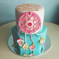 dreamcatcher cake Big Cakes, Just Cakes, Sweet Cakes, Pretty Cakes, Beautiful Cakes, Amazing Cakes, Fondant Cakes, Cupcake Cakes, Native American Cake
