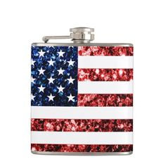 4th of July gift for her! USA flag red and blue sparkles glitters Flasks by #PLdesign #USASparkles #SparklesGift