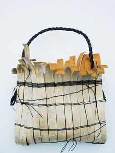 Mary Butcher,  Silver Bag with Hidden Gold Birch bark, waxed linen thread, leather Twining