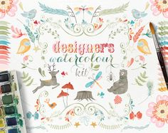 Too cute! Woodland Watercolor Clip Art. So many cute illustrations in this set.