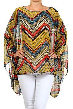 Modern Kiwi Sona Chevron Print Scarf Caftan Poncho Top Polyester Made in USA. One Size Three-quarter caftan sleeves fall down sides lightweight chiffon top Kaftan Designs, Blouse Designs, Stylish Dress Designs, Stylish Dresses, Classic Outfits For Women, Shirt Patterns For Women, Kaftan Pattern, Pakistani Fashion Party Wear, Poncho Tops