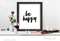 Printable Art be happy printable quote Wall Art by MadameLevasseur