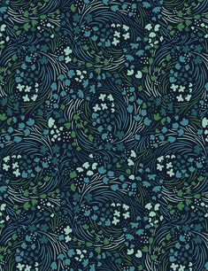 Really interesting flow. Organic floral surface pattern. Navy and teal. From sketch to pattern — KARLA PRUITT