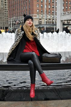 CHIARA FERRAGNI ANKLE BOOTS IN RED  MET LEATHER TROUSERS  SHAMPALOVE RED TRANSPARENT SHIRT  ZARA LEOPARD COAT  ASOS HAT  TOPSHOP GOLDEN BANGLE + STUDDED BANGLE BOUGHT IN NYC  ALEXANDER WANG COCO DUFFEL BAG  Feb
