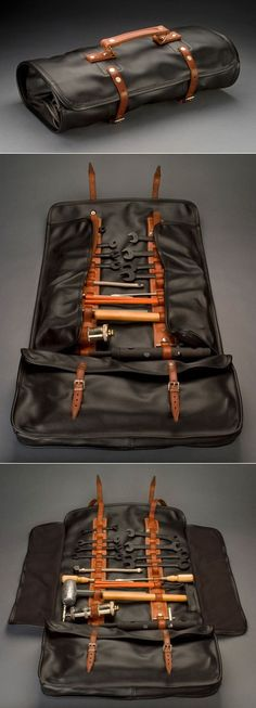 This bespoke Bob Smith Coachworks leather tool roll, a replica of the kind that came with the Ferrari 250, does a beautiful job of not only keeping the tools secure, but revealing them completely by means of the unfolding side flaps.