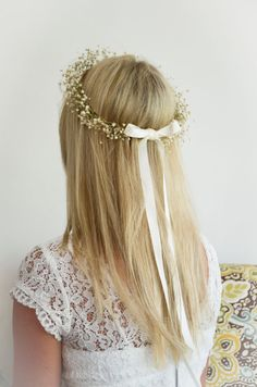 FLOWER GIRL Babys Breath Halo / Crown / Hair by WoodlandSecrets, $39.00